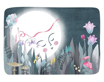 Moon Flowers Art Print - Illustration drawing moon moonface flowers nursery art  A4 / A3 / A5 / 8 x 10 giclee print