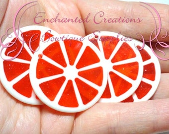 35mm Red Sparkly Fruit Slice Citrus Pendants Qty 4, Chunky Pendant, Purse Charm, Zipper Pull, Keychain, Chunky Jewelry, Food Kawaii Charm