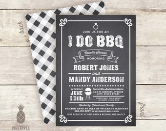 Chalkboard Inspired I Do BBQ Invitations