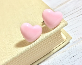 Valentine's Day Puffed Light Pink Heart Stud Earrings, Surgical Steel Posts, Sensitive Ears (SE10)