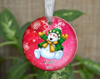 Personalized Christmas Ornament, Baby First Christmas ornament, Custom Ornament, Newborn baby gift, Snowman ornament, Christmas gift. o091