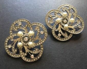 Romantic Victorian wedding shoe clips, Swarovski rhinestone crystal shoe clips, bridal shoes clips, dance shoe clips, engaged, pearls shoe