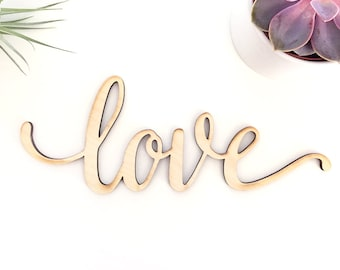 Script Love Wood Sign - Wood Sign Art, Wooden Love,  Wood Love Sign, Wood Wedding Decor, 5 Year Anniversary Gift, Script Love, Cursive Love