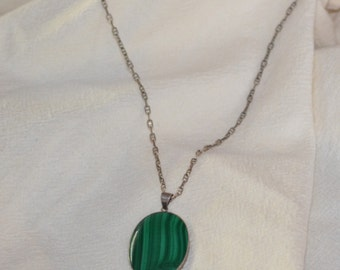 Sterling Silver Malachite Vintage Necklace