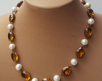 Topaz Collet Necklace, Anna Wintour Necklace,Yellow Riviere Necklace,Georgian Jewelry, Regency Jewelry,18th Century Crystal and pearl choker