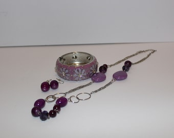 Purple Necklace, Earrings, Bracelet Set.