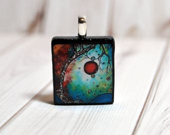 Tree jewelry - nature necklace - Scrabble pendant - tree necklace - Scrabble tile necklace - art charm - colorful tree - moon and tree