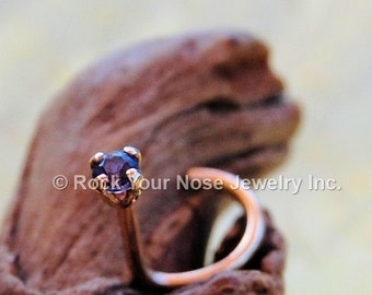 Iolite in Gold Nose Stud 2mm - CUSTOMIZE