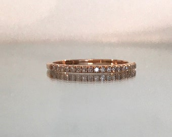 Minimalist Diamond Ring Pave Diamond Wedding Ring Stackable Diamond Eternity Band Matching Band Anniversary Ring - WB1011