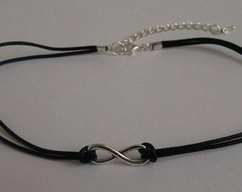 Infinity choker, black leather choker, infinity necklace, choker necklace, leather necklace, black choker, infinity jewellery, boho choker