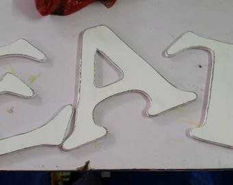 6 inch Painted,  Hand Cut Wooden Letters and Numbers