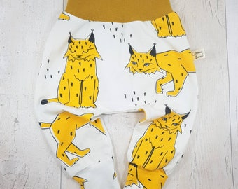 Organic baby leggings, baby harems, lynx cat leggings, baby cat pants, baby lynx, organic cotton, harem leggings, mustard baby leggings