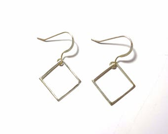 Sterling Silver Earrings Geometric Square Minimal Jewelry