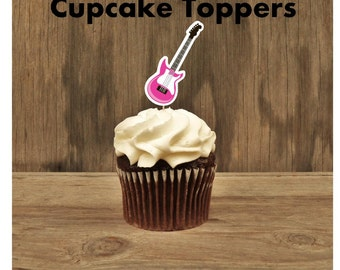 Rock Star Party - Set of 12 Pink Guitar Cupcake Toppers by The Birthday House