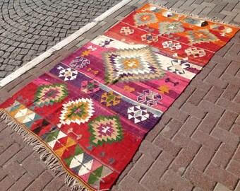 """Vintage rug, Kilim rug, red area rug, 51"""" x 91"""", kilim rug, kelim rug, rug, rustic rug, rugs, tribal rug, floor rug, unique area rug, 390"""