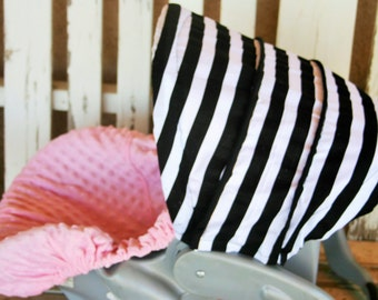 black and white stripes infant hood cover and baby pink minky infant car seat cover