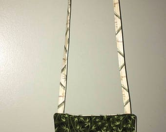 Crossbody bag, cell phone bag, palm trees, handmade