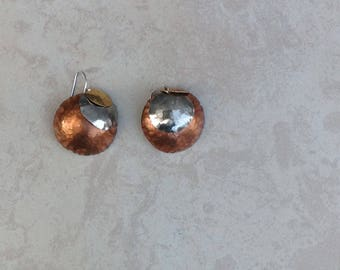 Tri-color domed earrings
