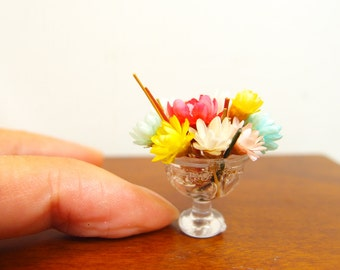 1:12 Colourful Peony on Water Floral Arrangement, Minimal Elegant Flowers Bouquet in a Bowl, OOAK one inch scale dollhouse artisan miniature