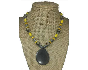 Gray Tagua Necklace -Gray Necklace - Tagua Nut Necklace - Natural Necklace - Boho Necklace