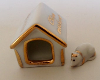 Limoges Miniature Attention  Chien Mechant Circa 1980's.