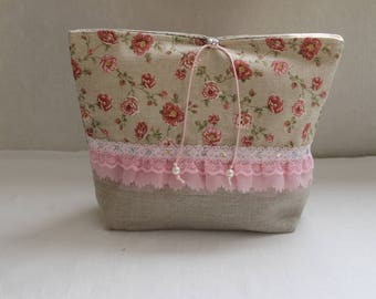 POUCH/case only SHABBY linen with lace gathered Organza and tulle - button jewelry - pink cord - Pearl