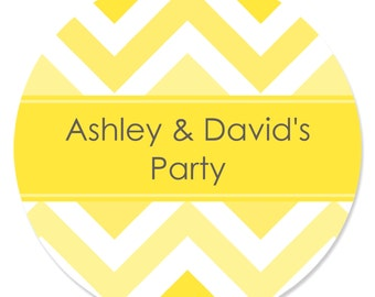 24 Chevron Yellow Circle Stickers - Personalized Baby Shower, Birthday Party, or Bridal Shower DIY Craft Supplies
