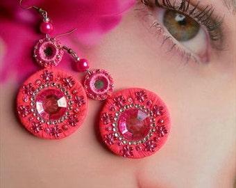 BOLLYWOOD Rhinestone Earrings, Hot Pink Artisan beads Type I by La Polena, beaded crochet mirrrors, hand sewn dangle. for order