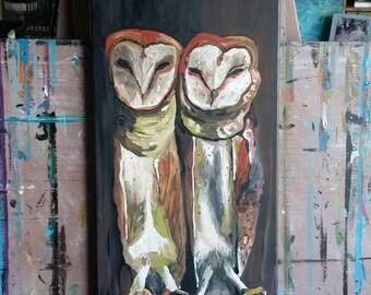 Owls. Barn owls. Painting.  Farm. Nature.  Birds