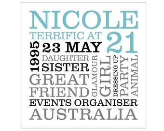 Personalised 21st Birthday Typographic Art Digital File