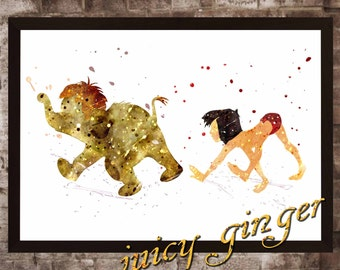 Mowgli art print ,The Jungle Book disney,watercolor poster, Art Print, instant download, Watercolor Print, poster, Home Decor