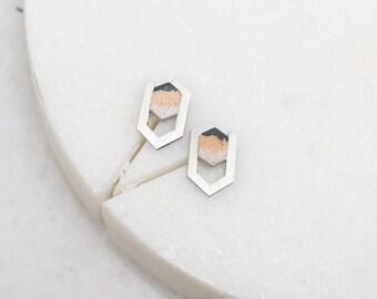 Olea Steel / Graphic Hexagon Steel and Amber Concrete Earrings