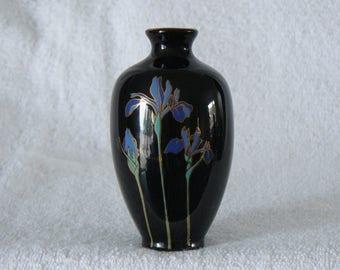 Otagiri Japan Blue Iris Mini Bud Vase Black Porcelain, Japanese Bud Vase