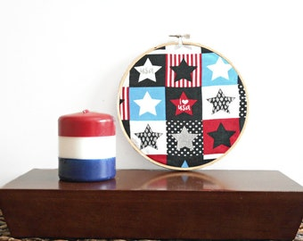 Patriotic Wall Hoop Art Fabric Stars Red Black Blue White Rustic USA Wall Decor Fourth of July Americana