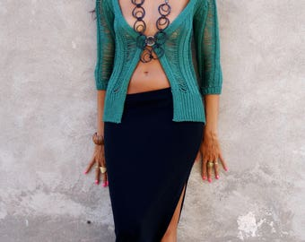 Crochet Cardigan, Emerald Green, Women, Summer Cardigan, Size S/M, Boho Chic, 3/4 Sleeves, Cardi, Cover Up, Made in Italy