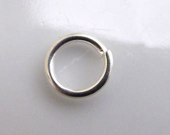 Open silver 6 mm rings. Set of 10.