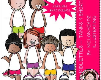 Kidlettes clip art - Tanks and Shorts - Mini