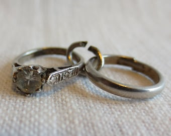 WEDDING ENGAGEMENT RING Set Sterling Silver Charm or Pendant
