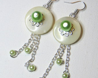 Green mother of pearl earrings - #735