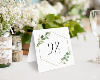 Wedding Table Numbers 1–40, Printable Wedding Table Numbers, Reserved and Head Table Signs Included, 5x5 Tented, Geometric Greenery, VW21