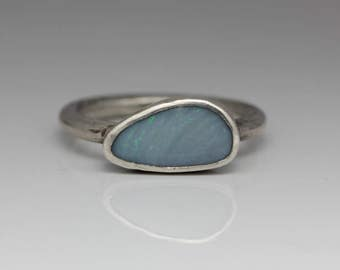 Opal Ring Sterling Silver Ring Pale Blue Opal Le Chien Noir October Birthstone Boho Jewelry Size 8