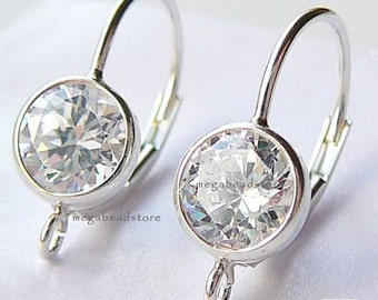 1 Pair 6mm CZ Leverback Ear wires 925 Sterling Silver Earring F188