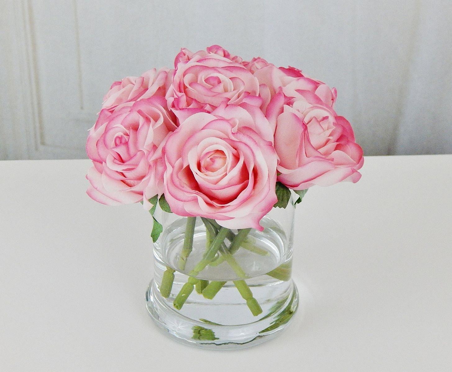 Pink blush roseroses glass vase faux water acrylicillusion pink blush roseroses glass vase faux water acrylicillusion silk real touch flowers floral arrangement centerpiece decor gift mightylinksfo