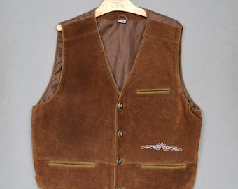 Leather Men's Vest, Suede Leather Vest, Men's Classic Leather Vest, Gentlemen's Suede Waistcoat, Western Steampunk Suede Vest, Father's Day