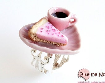 Mini Food Tart and Coffee on a Plate Ring, Tart Ring, Mini Tart, Food Jewelry, Kawaii Jewelry, Cute Jewelry, Coffee Ring