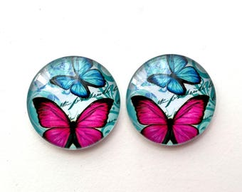 Cabochons • butterflies • blue and pink set of 2 glass cabochons 25mm
