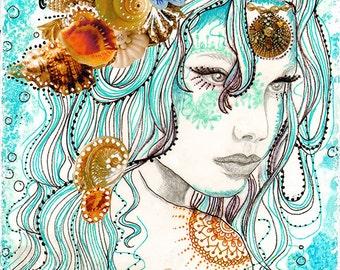mermaid hair, original mixed media painting, illustration, mermaid art, 40 works in 40 days, female portrait art, aqua blue