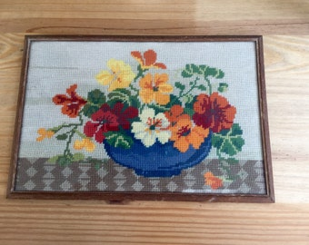 1950s Embroidery Sampler Vasse of Flowers Needlework Needlepoint