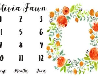 Girl Milestone Fabric in Beautiful Orange Watercolor Florals / Personalized Name Fabric / Photo Prop Fabric / Newborn First Year Fabric