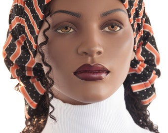 Dread Headband Scarf Headband Headcovering Prayer Headcovering Dotted Stripe Print Black Orange White Dreadie Head Scarf